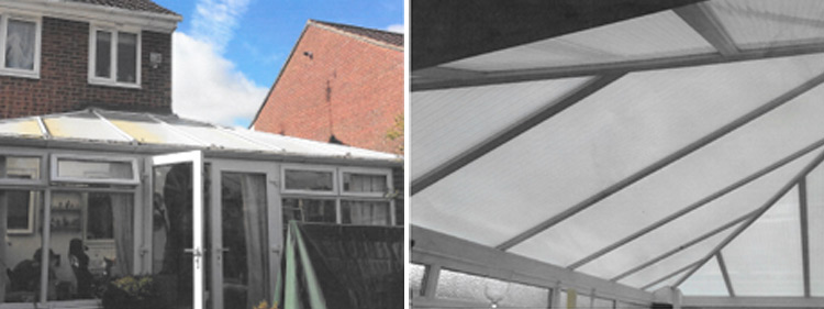 Replace a discoloured conservatory roof