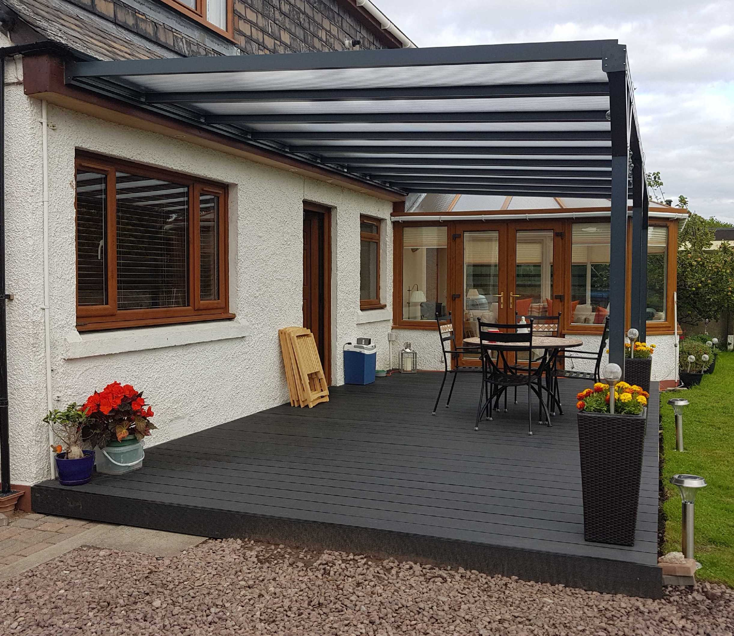 Wall-Mounted Lean-To Canopy in Anthracite Grey, Glass Clear 6mm Plate Polycarbonate Glazing