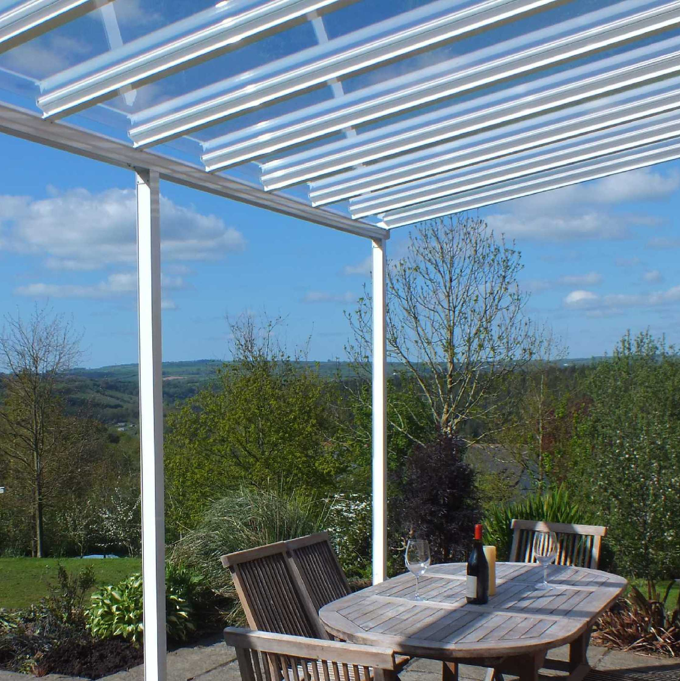 Buy Omega Smart White Lean-To Canopy with 6mm Glass Clear Plate Polycarbonate Glazing - 8.4m (W) x 2.5m (P), (4) Supporting Posts online today