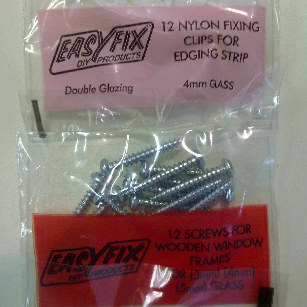 Easyfix Nylon Clips - For 4mm Glazing Thickness, White