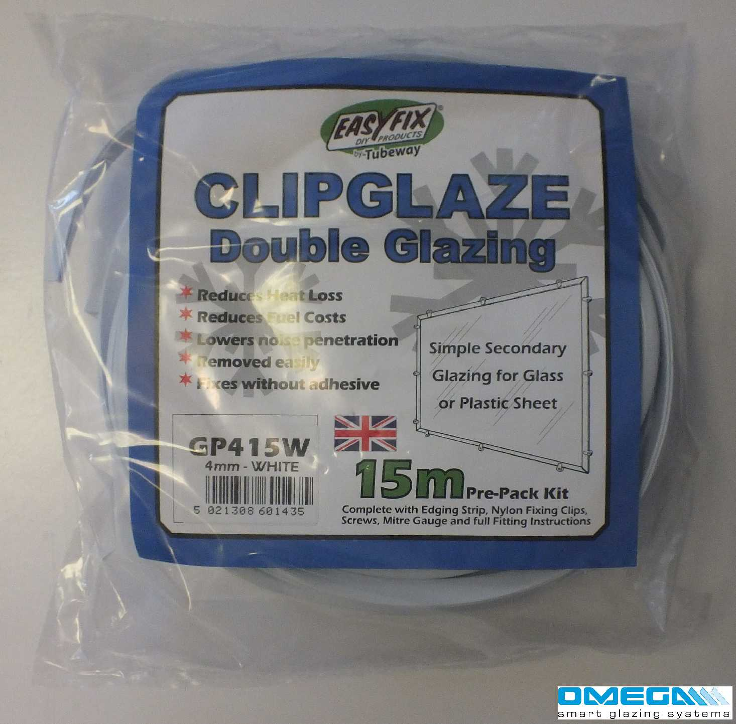 Buy Easyfix Clipglaze Edging Kit - 15m roll of edging for 3mm Glazing Thickness, White online today