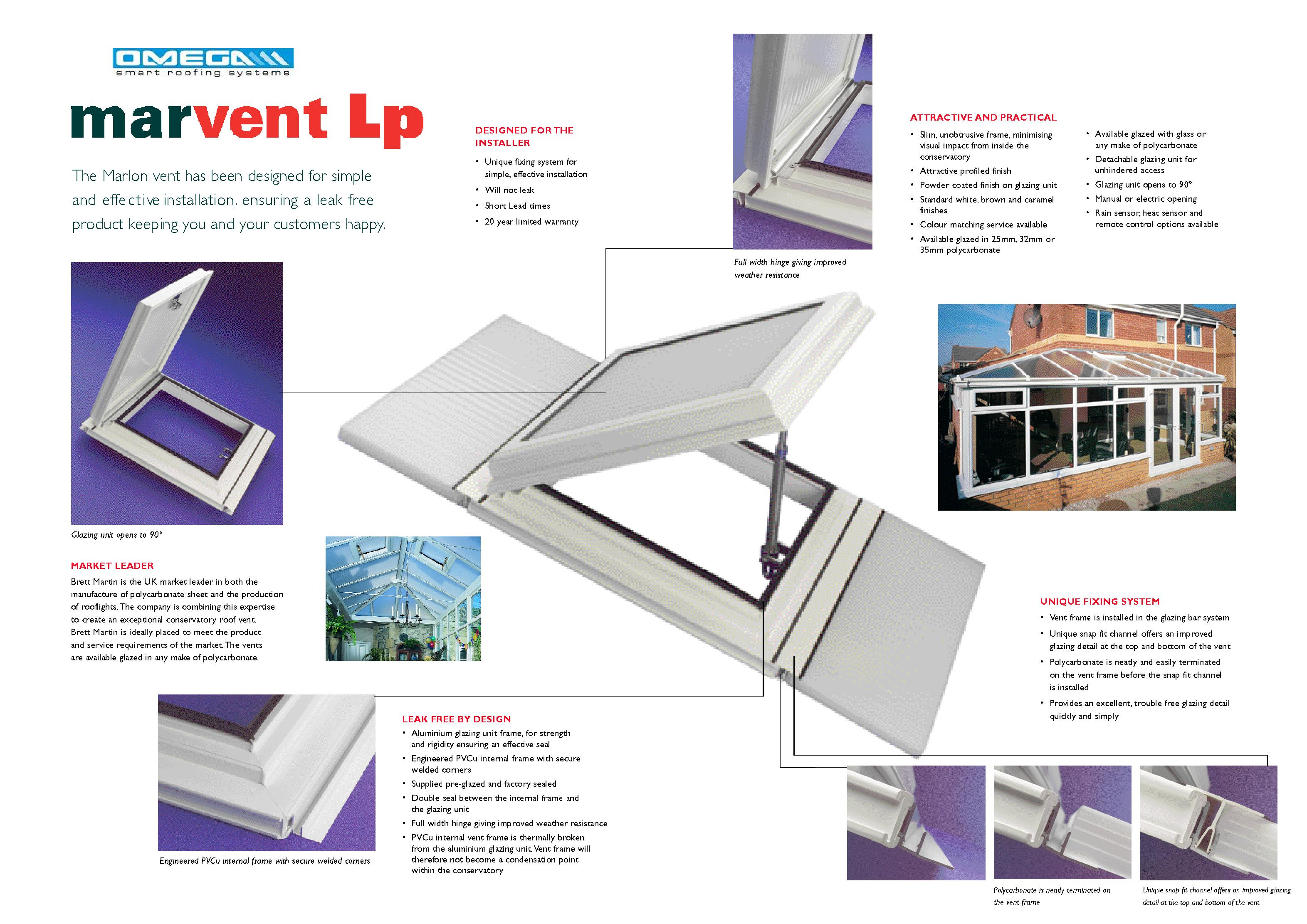 Aluminium/uPVC Conservatory Roof Vent (Bar-to-Bar) for 25mm thick polycarbonate from Omega Build