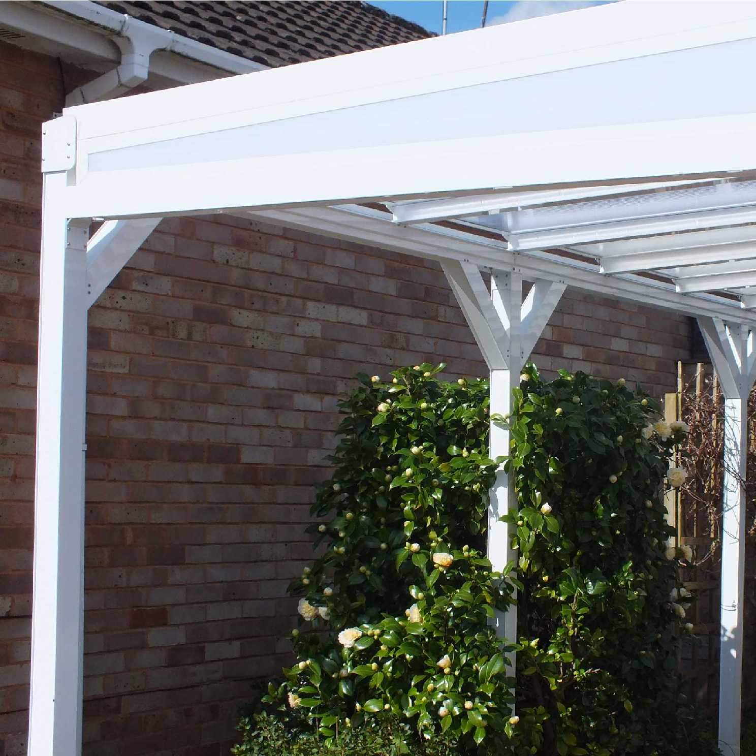 Omega Smart White Lean-To Canopy with 16mm Polycarbonate Glazing - 6.3m (W) x 1.5m (P), (4) Supporting Posts from Omega Build
