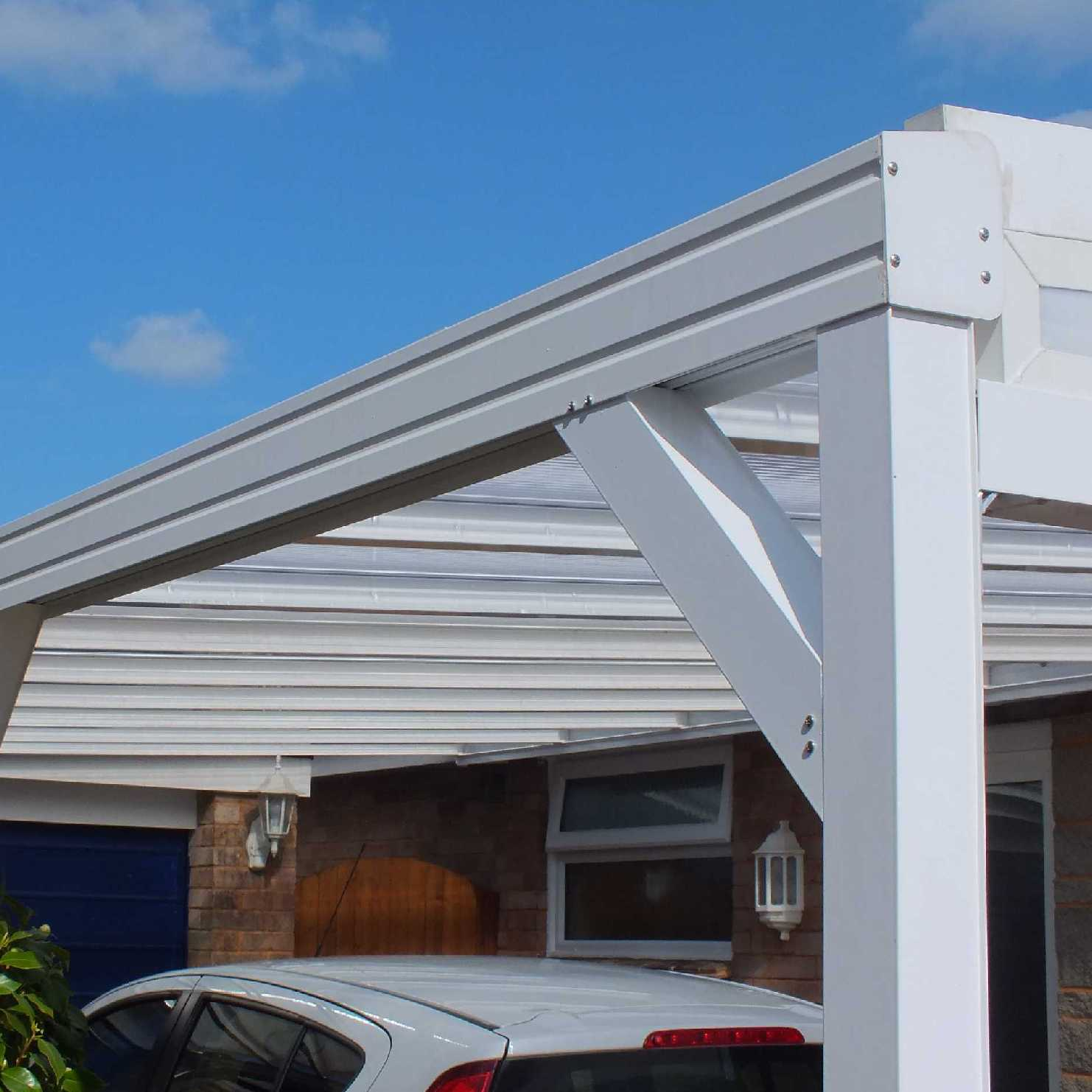 Buy Omega Smart White Lean-To Canopy with 16mm Polycarbonate Glazing - 5.6m (W) x 3.5m (P), (3) Supporting Posts online today