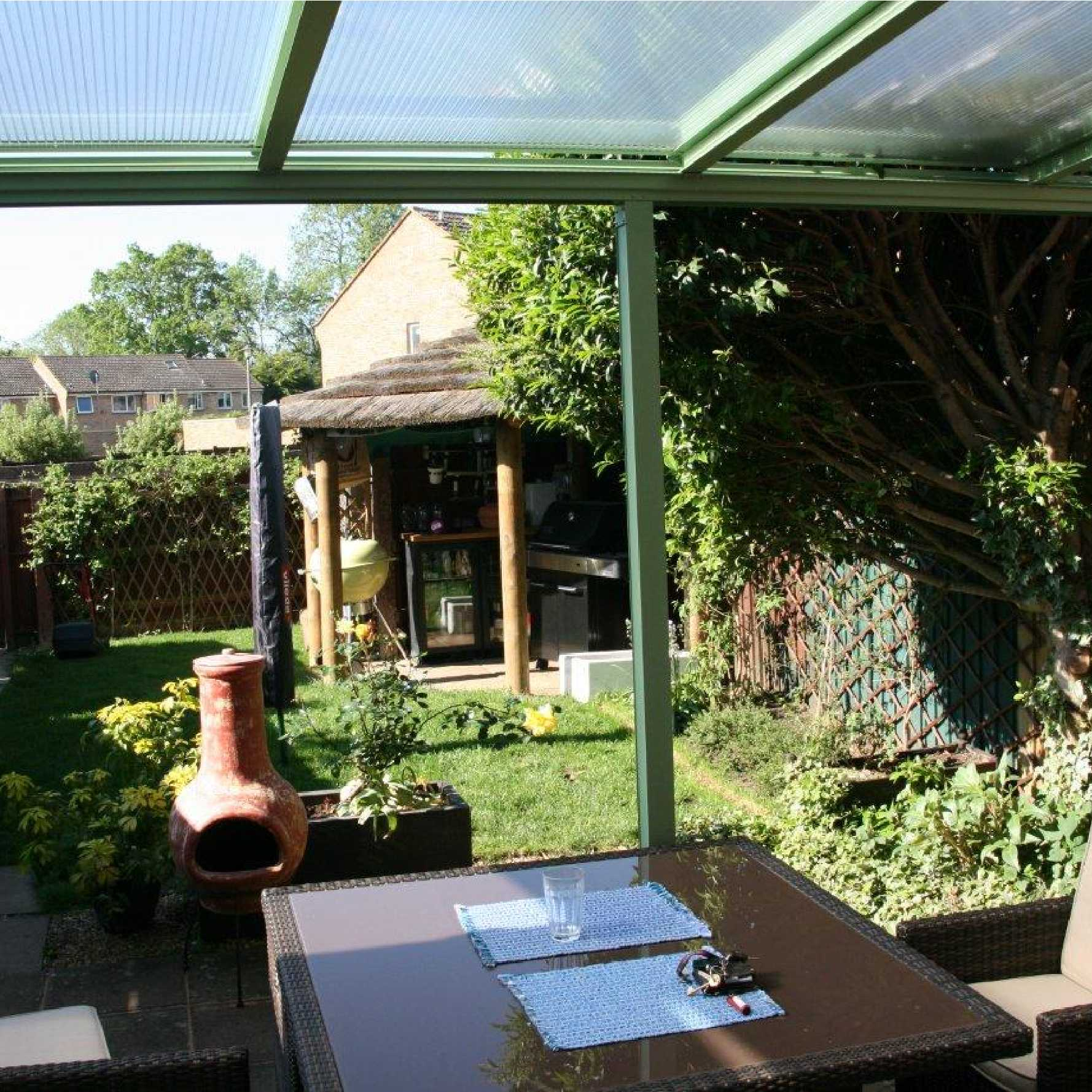 Affordable Omega Smart White Lean-To Canopy with 16mm Polycarbonate Glazing - 3.5m (W) x 4.5m (P), (3) Supporting Posts
