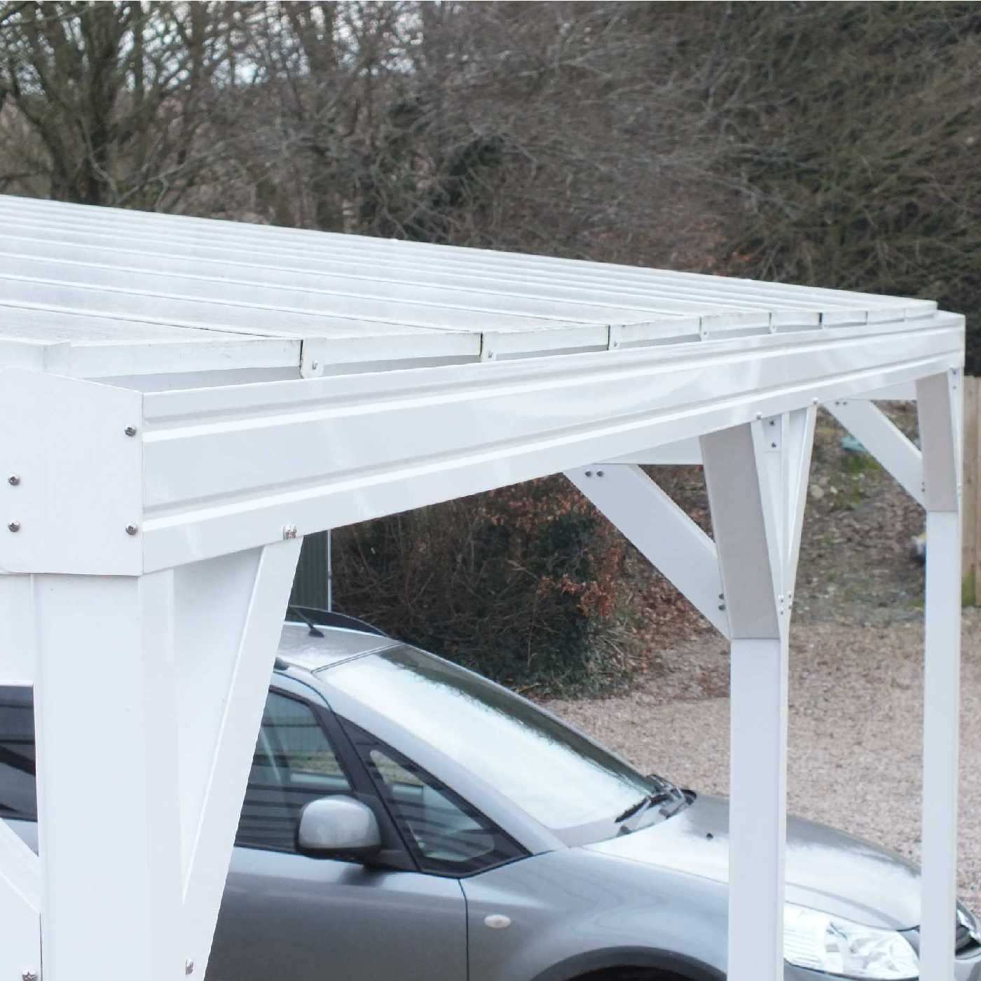 Omega Smart Free-Standing, MonoPitch Roof Canopy with 16mm Polycarbonate Glazing - 5.6m (W) x 3.5m (P), (6) Supporting Posts from Omega Build