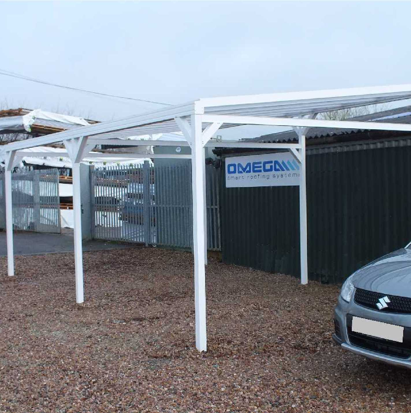 Omega Smart Free-Standing, MonoPitch Roof Canopy with 16mm Polycarbonate Glazing - 8.4m (W) x 3.5m (P), (8) Supporting Posts