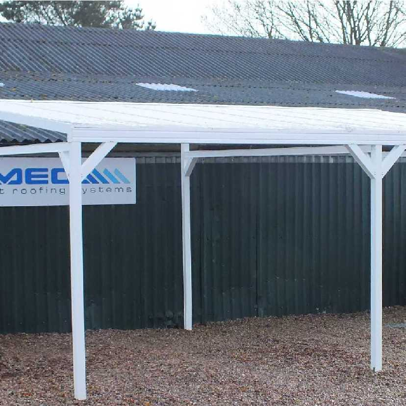 Great deals on Omega Smart Free-Standing, MonoPitch Roof Canopy with 16mm Polycarbonate Glazing - 4.9m (W) x 4.0m (P), (6) Supporting Posts
