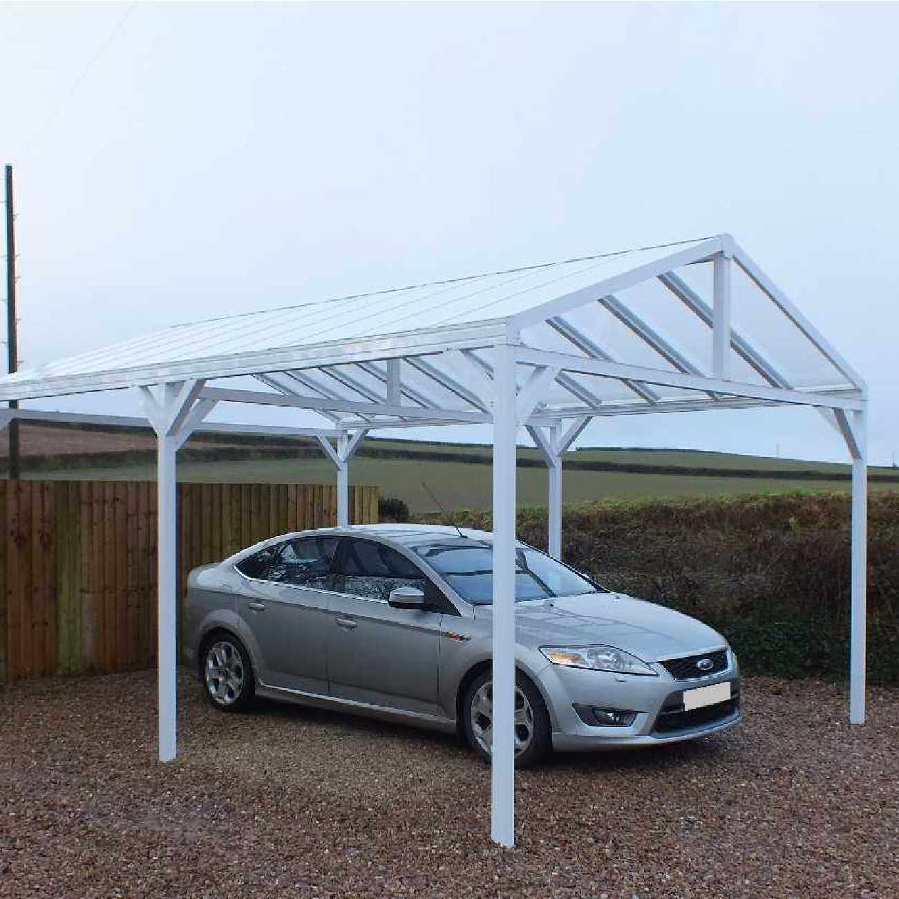 Affordable Omega Smart Free-Standing, Gable-Roof (type 1) Canopy with 16mm Polycarbonate Glazing - 4.2m (W) x 3.5m (P), (6) Supporting Posts