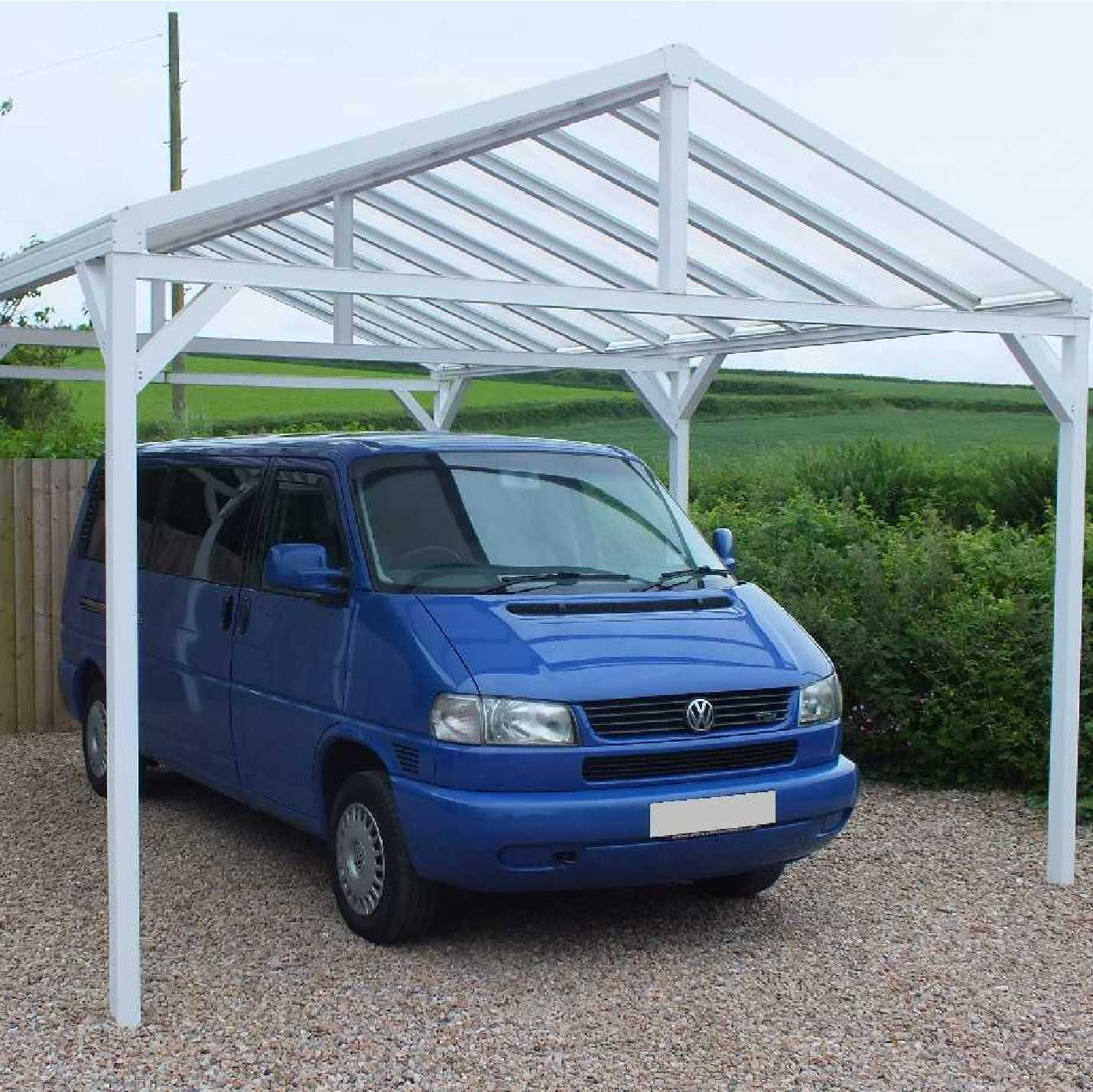 Omega Smart Free-Standing, Gable-Roof (type 1) Canopy with 16mm Polycarbonate Glazing - 7.4m (W) x 3.5m (P), (8) Supporting Posts