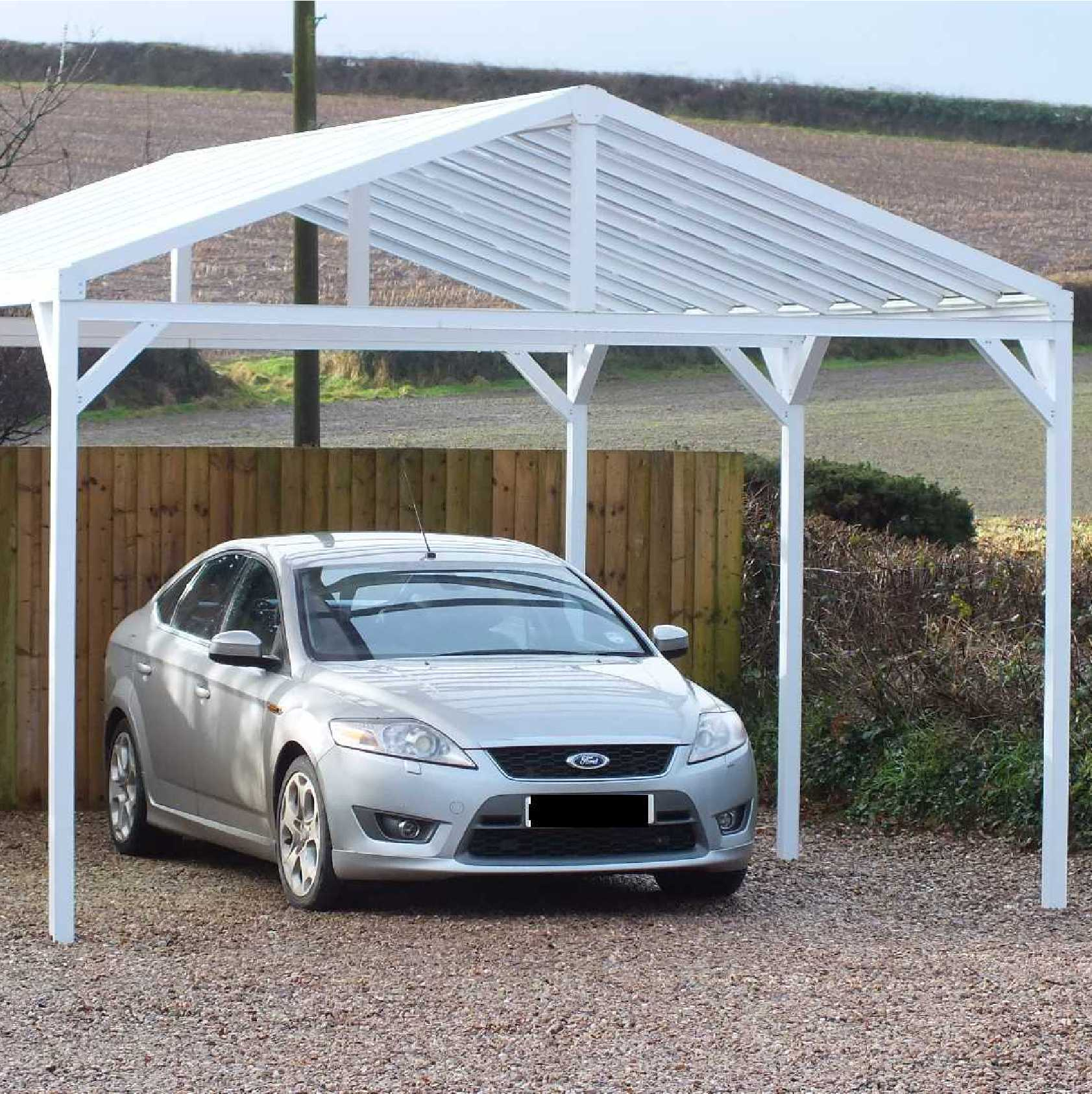 Buy Omega Smart Free-Standing, Gable-Roof (type 1) Canopy with 16mm Polycarbonate Glazing - 7.4m (W) x 3.5m (P), (8) Supporting Posts online today