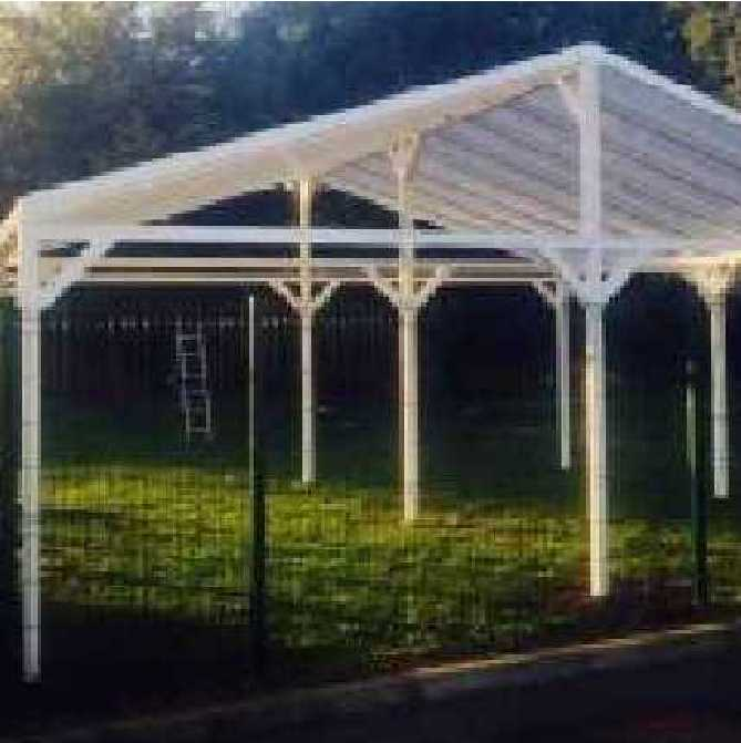 Omega Smart Free-Standing, Gable-Roof (type 2) Canopy with 16mm Polycarbonate Glazing - 7.0m (W) x 6.2m (P), (9) Supporting Posts