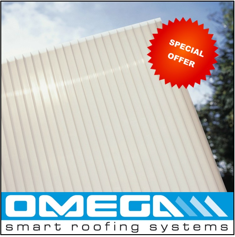 SPECIAL OFFER 16mm Opal Polycarbonate Roofing sheet, Triple Wall, upto 4,000mm long