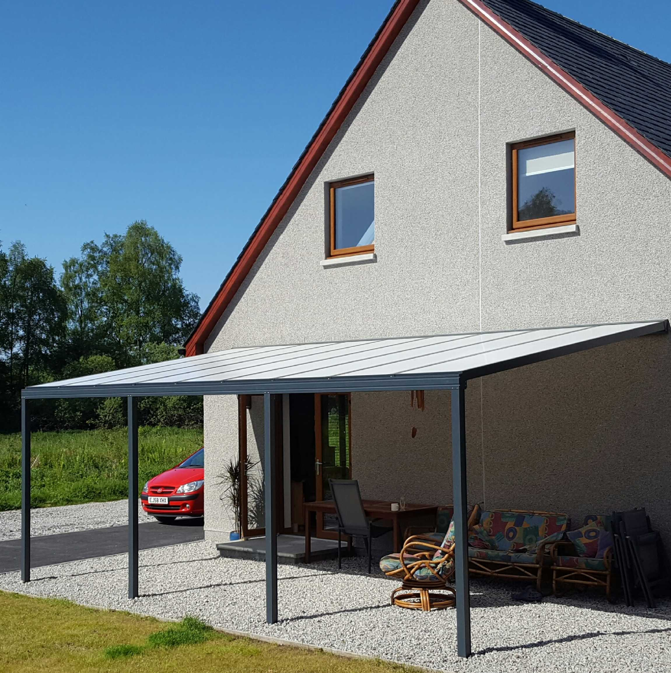 Great selection of Omega Smart Lean-To Canopy, Anthracite Grey, 16mm Polycarbonate Glazing - 5.6m (W) x 3.5m (P), (3) Supporting Posts
