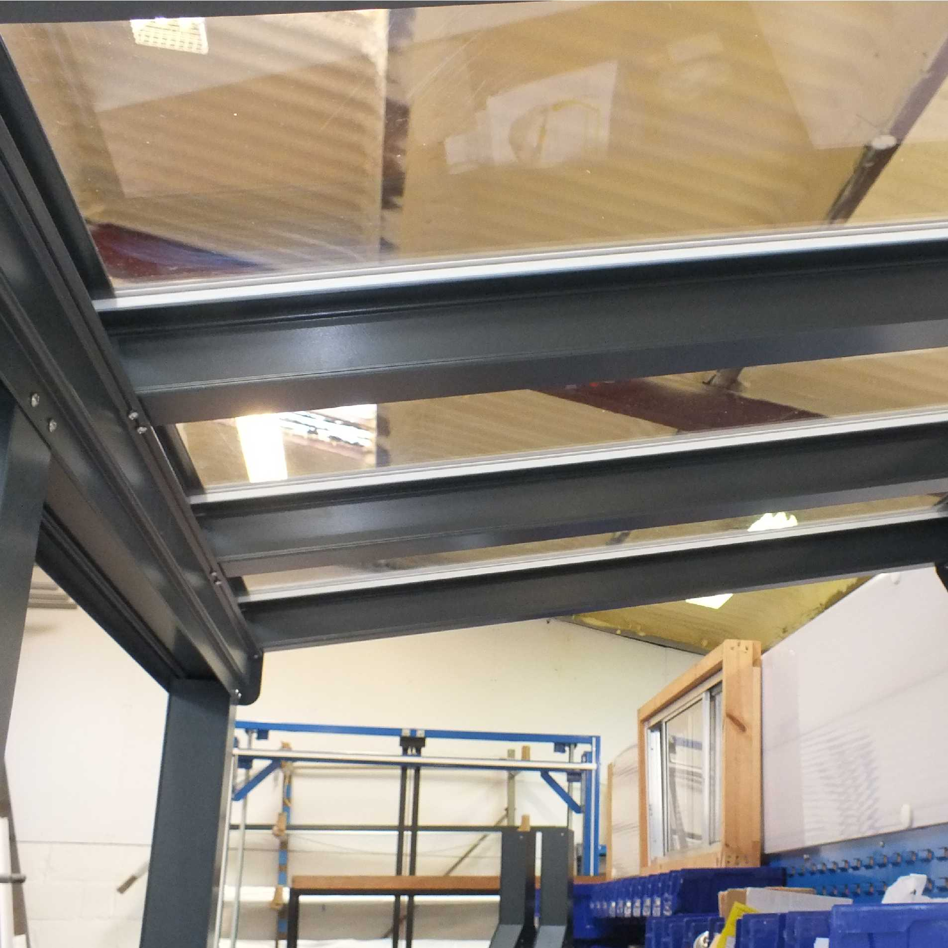 Great deals on Omega Smart Lean-To Canopy, Anthracite Grey, 6mm Glass Clear Plate Polycarbonate Glazing - 5.6m (W) x 2.5m (P), (3) Supporting Posts