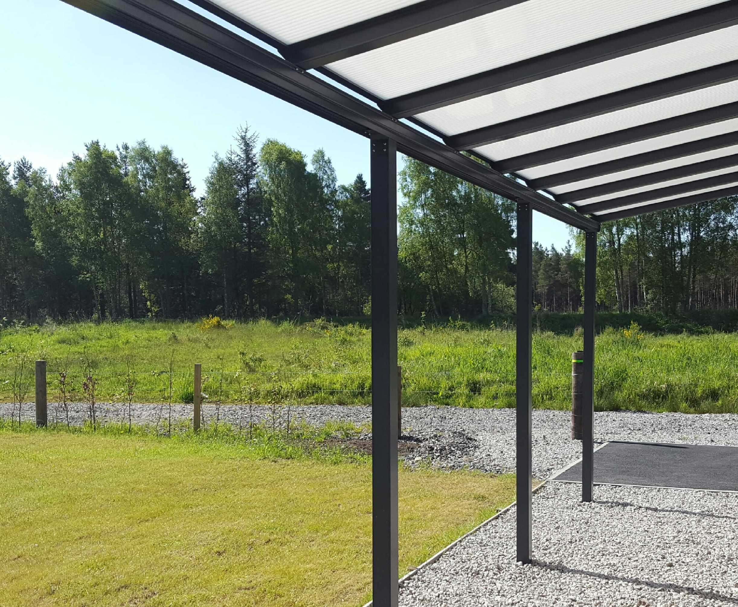 Omega Smart Lean-To Canopy, Anthracite Grey, 6mm Glass Clear Plate Polycarbonate Glazing - 7.7m (W) x 2.5m (P), (4) Supporting Posts