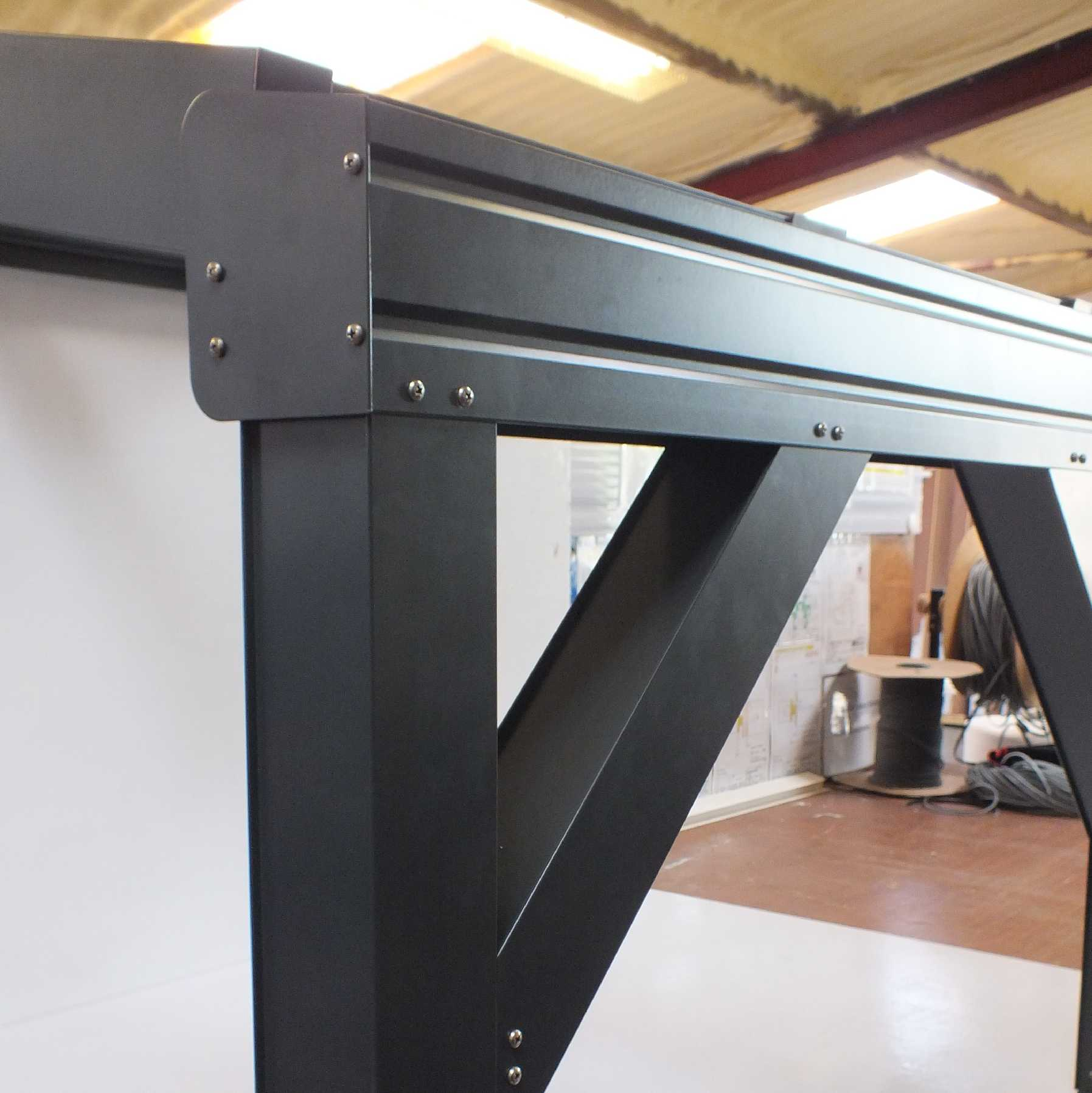 Omega Smart Lean-To Canopy, Anthracite Grey, UNGLAZED for 6mm Glazing - 7.7m (W) x 1.5m (P), (4) Supporting Posts from Omega Build