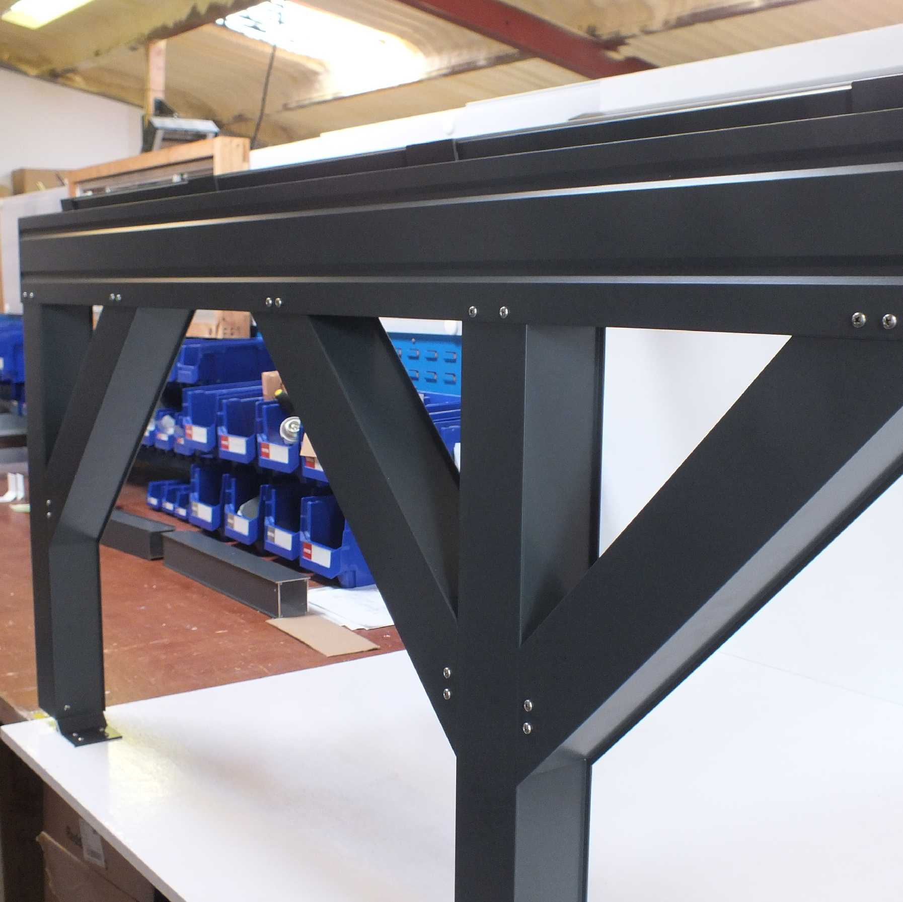 Affordable Omega Smart Lean-To Canopy, Anthracite Grey, UNGLAZED for 6mm Glazing - 7.7m (W) x 1.5m (P), (4) Supporting Posts