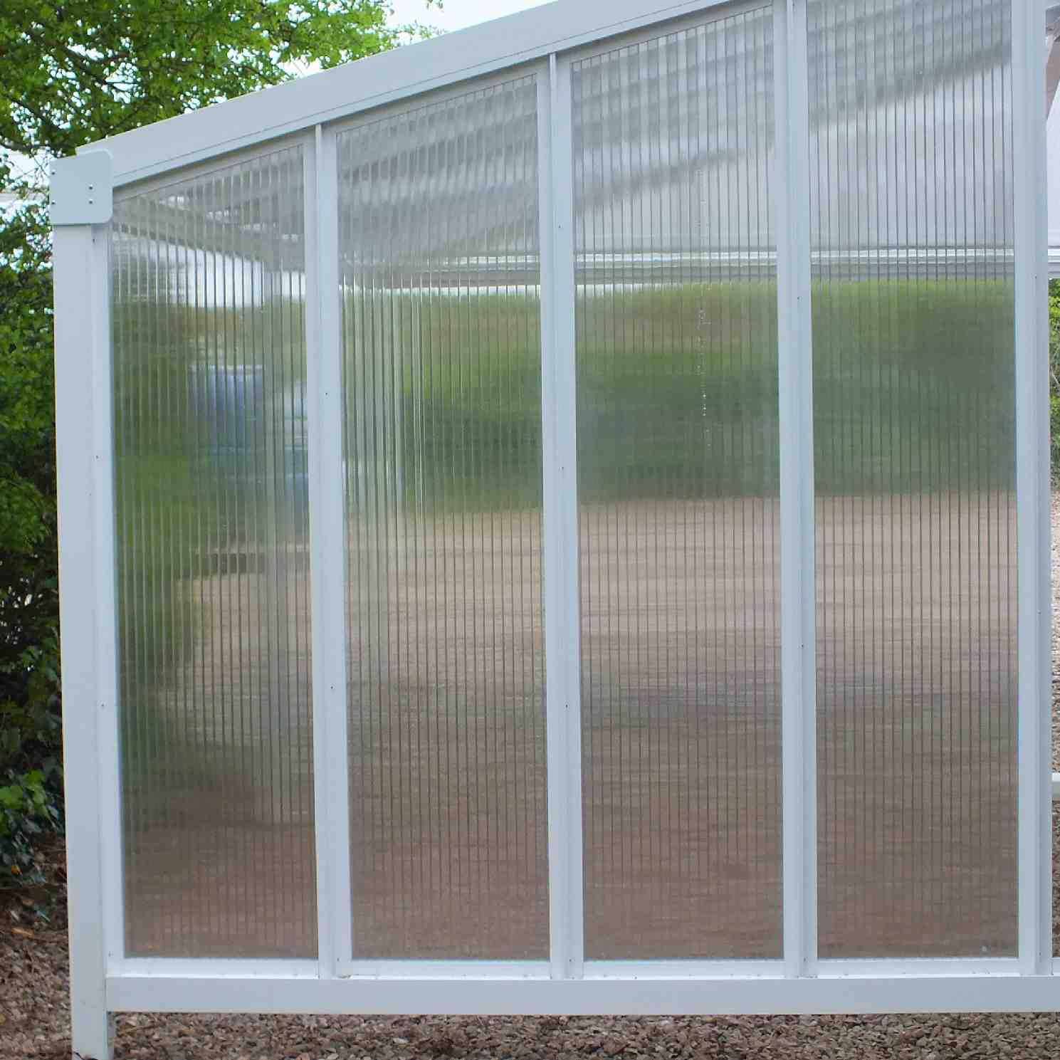 Omega Smart Canopy - FULL Side In-Fill Section for Sides of Canopy, 6mm Glass Clear Plate Polycarbonate In-Fill Panels, White Frame