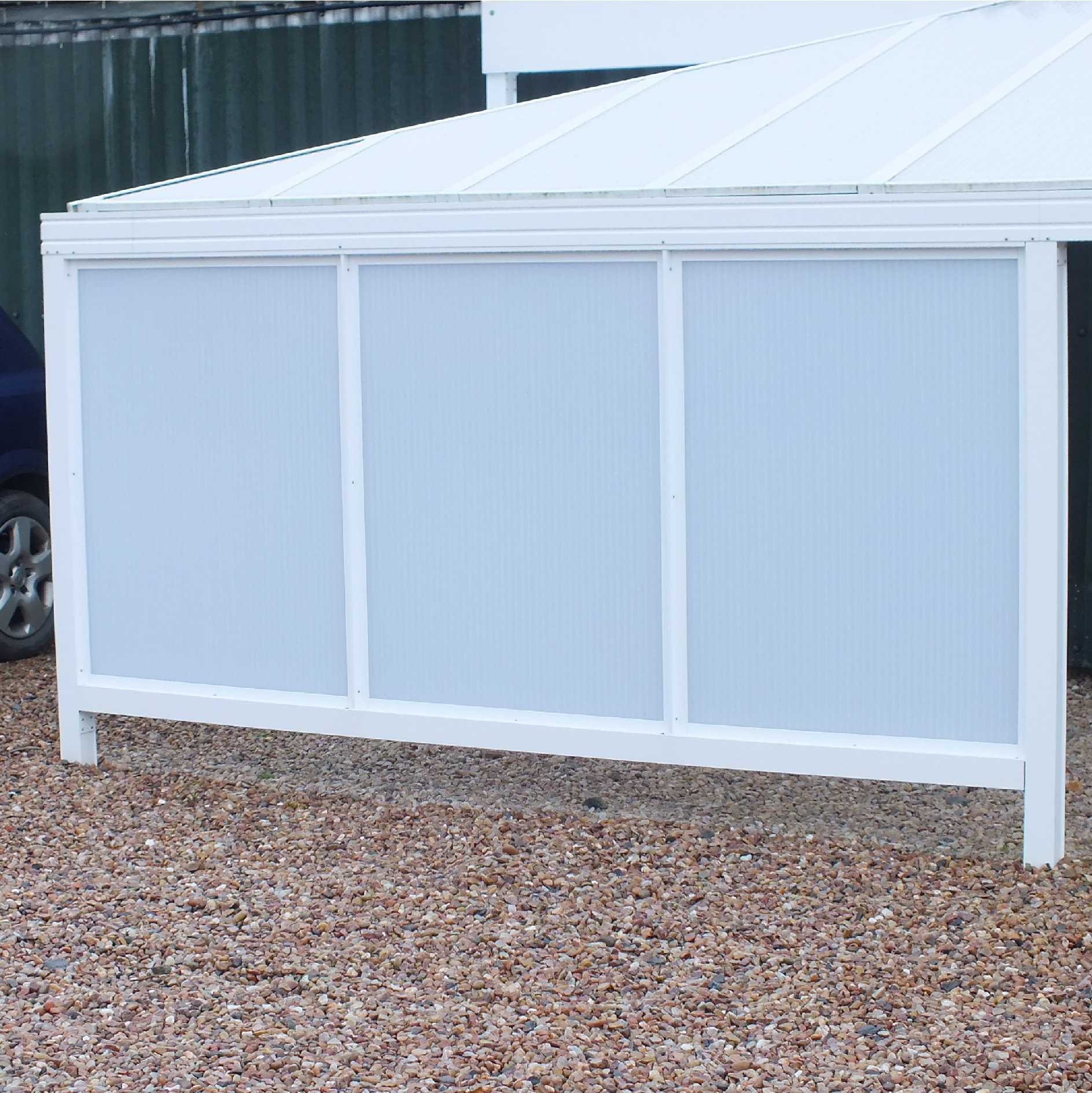 Omega Smart Canopy - UNDER EAVES In-Fill Sections (2 In-Fill Panels) for 2.1m, 3.5m, 4.2m, 6.3m Width Canopies,  6mm Glass Clear Plate Polycarbonate In-Fill Panels, White Frame