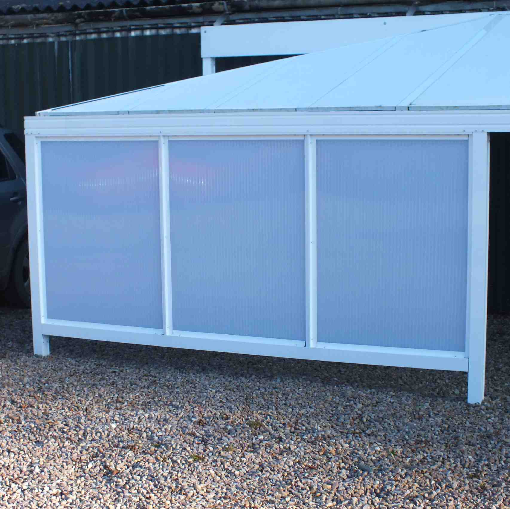 Omega Smart Canopy - UNDER EAVES In-Fill Sections (3 In-Fill Panels),  6mm Glass Clear Plate Polycarbonate In-Fill Panels, White Frame