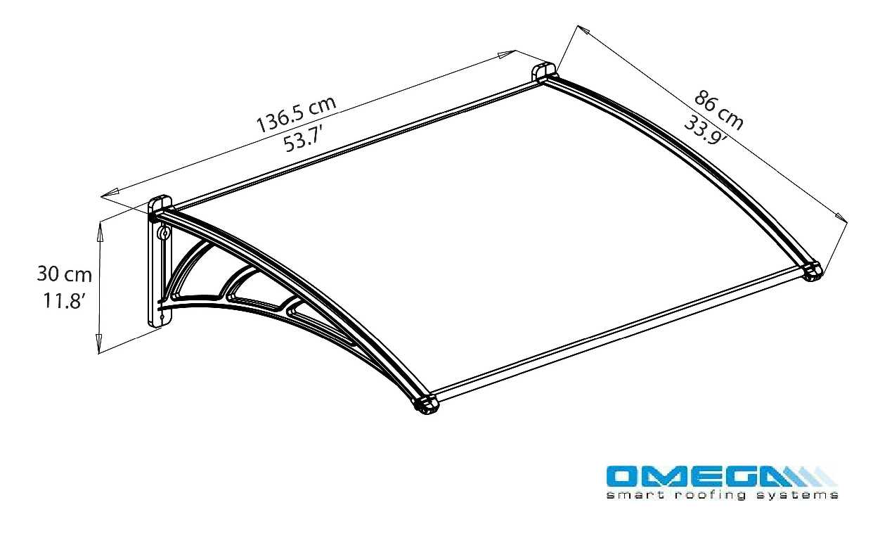 Neo 1350 Door Canopy - 1350mm (W) x 860mm (P) from Omega Build