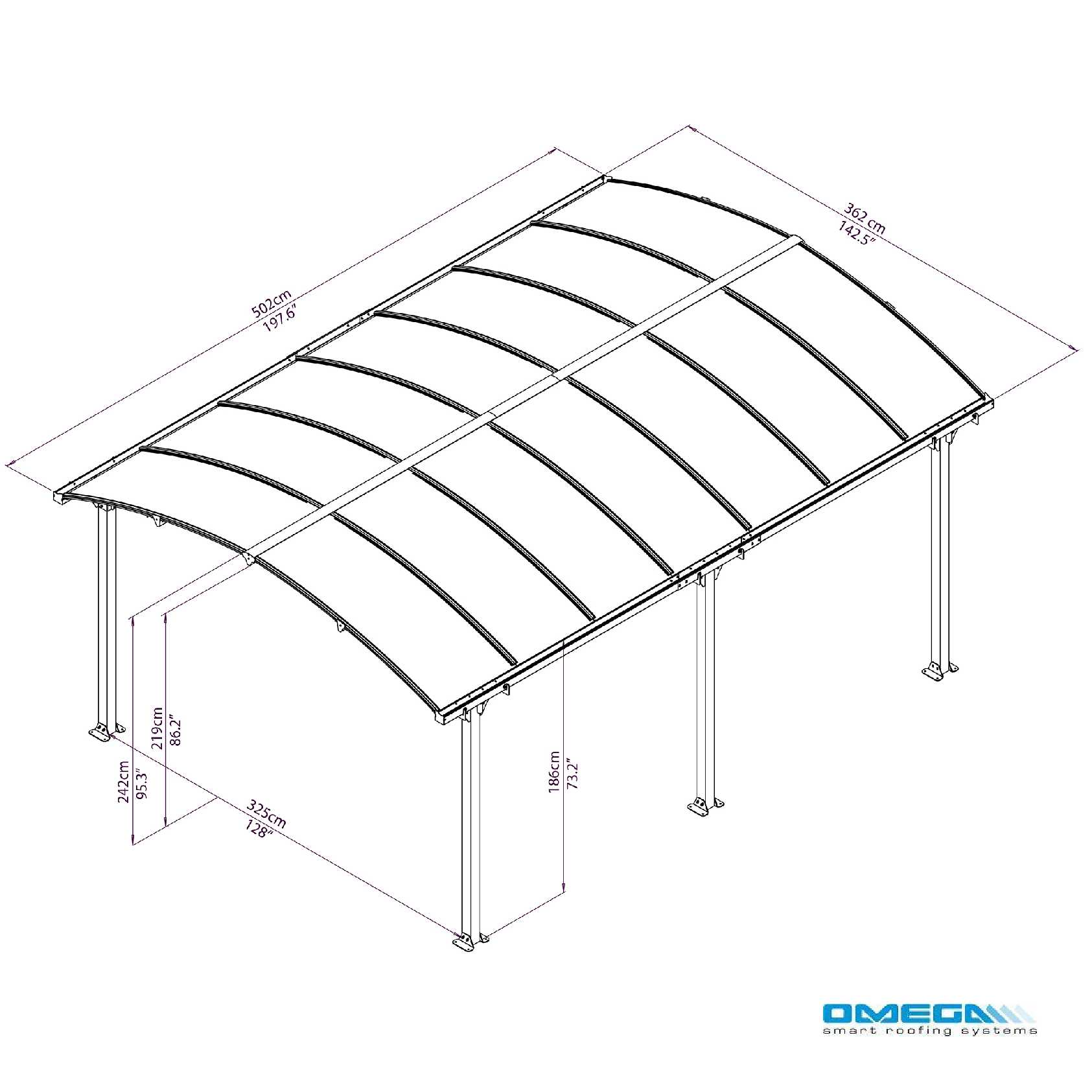 Buy Arcadia 5000 Curved Freestanding canopy 5020 x 3620mm online today