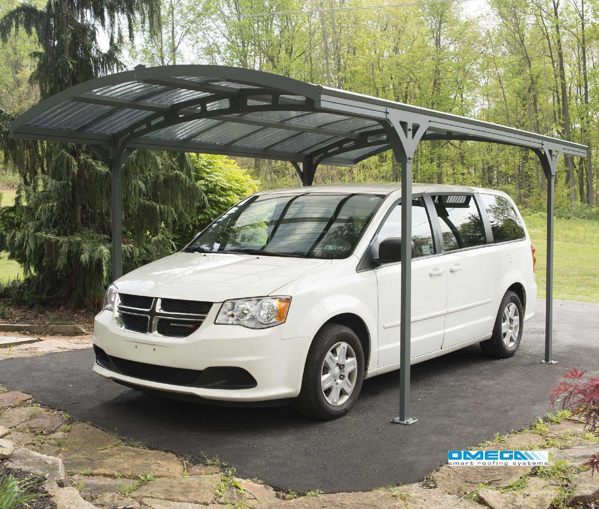 Vanguard 5000 Free Standing Car Port: Curved Roof Freestanding Canopy