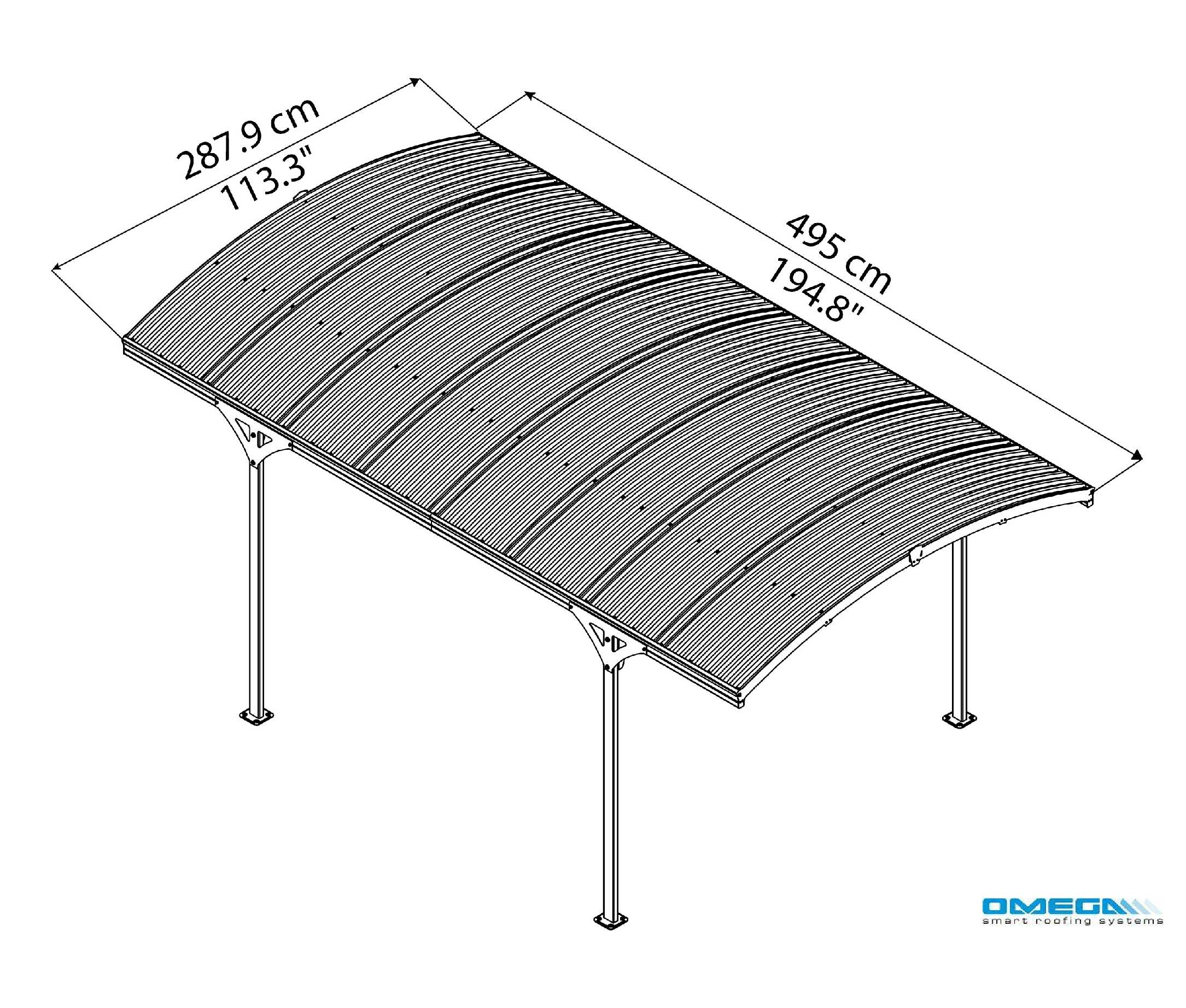 Atlas 5000 Curved Freestanding Canopy 4950 x 2879mm from Omega Build
