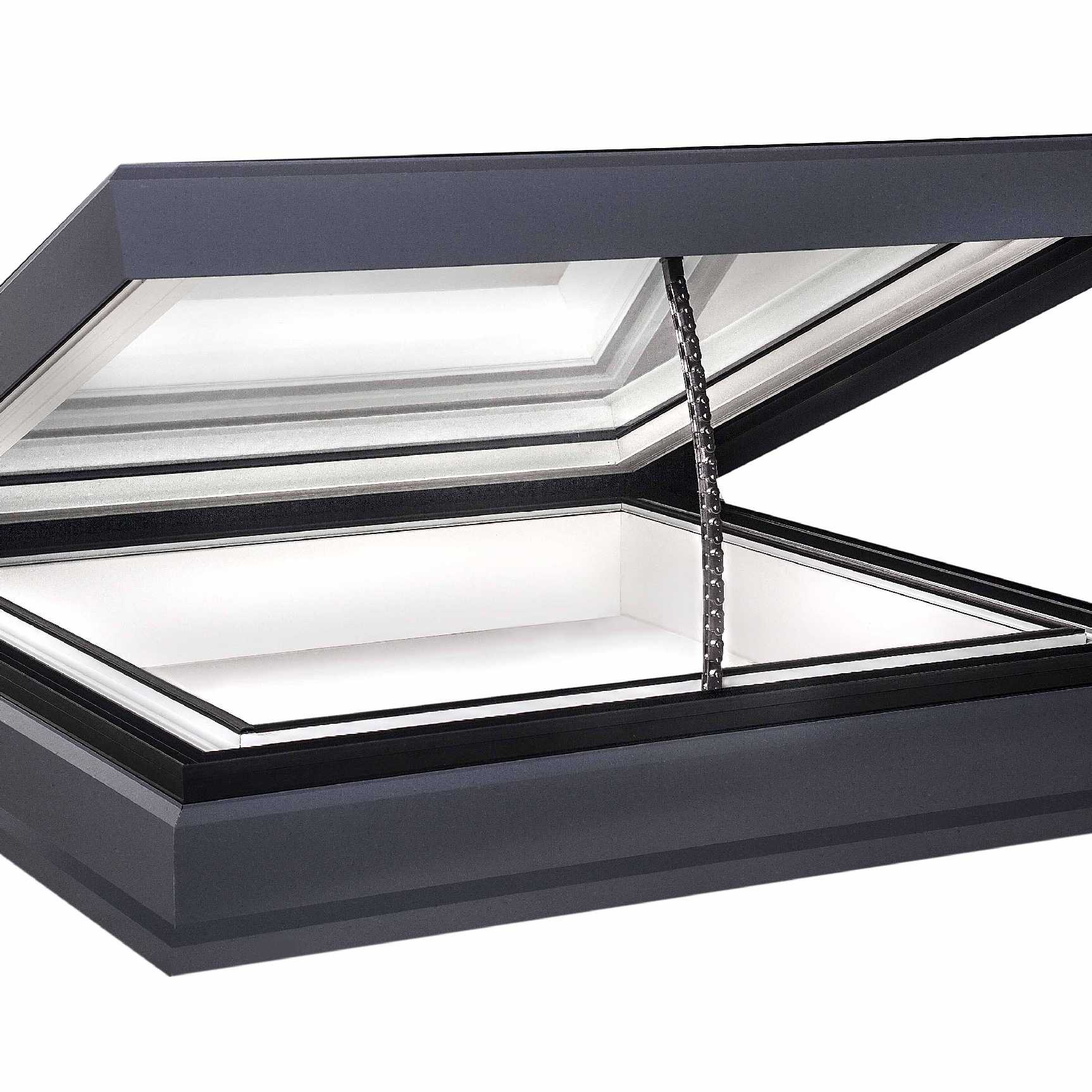 Affordable EcoGard Flat Roof light, Double Glazed, Electric Opening, 1,000mm x 1,000mm
