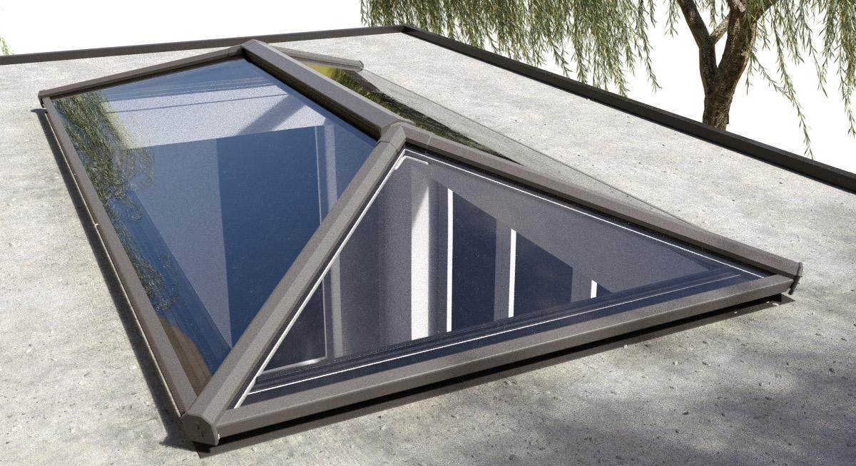 Aluminium Roof Lantern,  Ecoclean Blue Glass