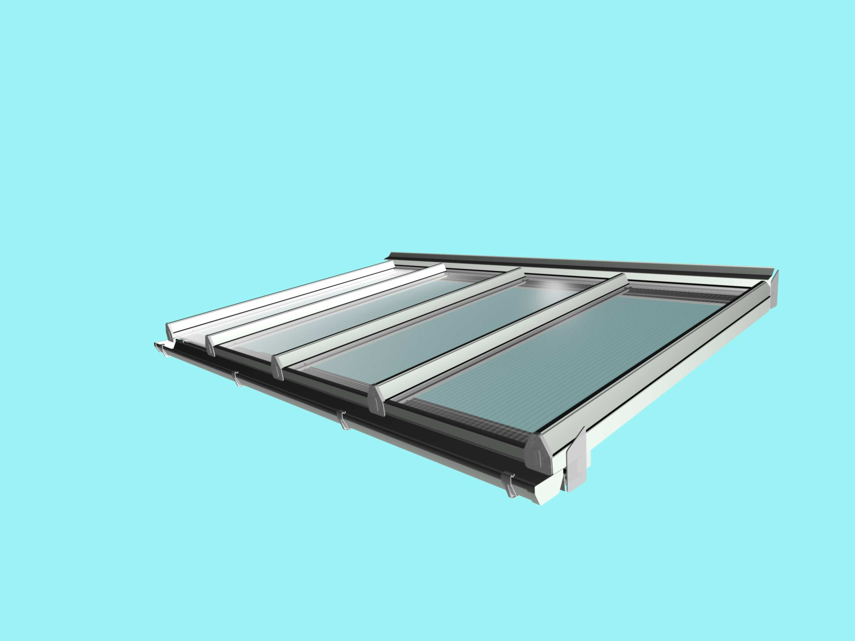Self-Supporting DIY Conservatory Roof Kit for 16mm polycarbonate, 4.0m wide x 3.5m Projection from Omega Build