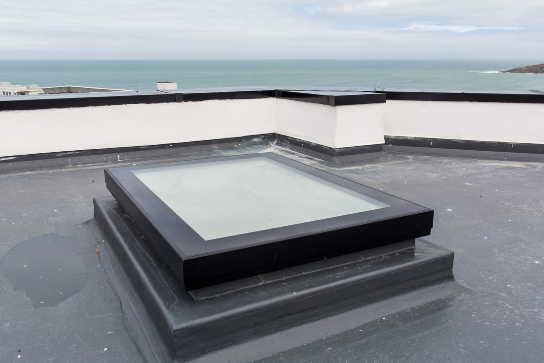 Mardome Glass Flat Roof Light Fixed for a builders upstand from Omega Build