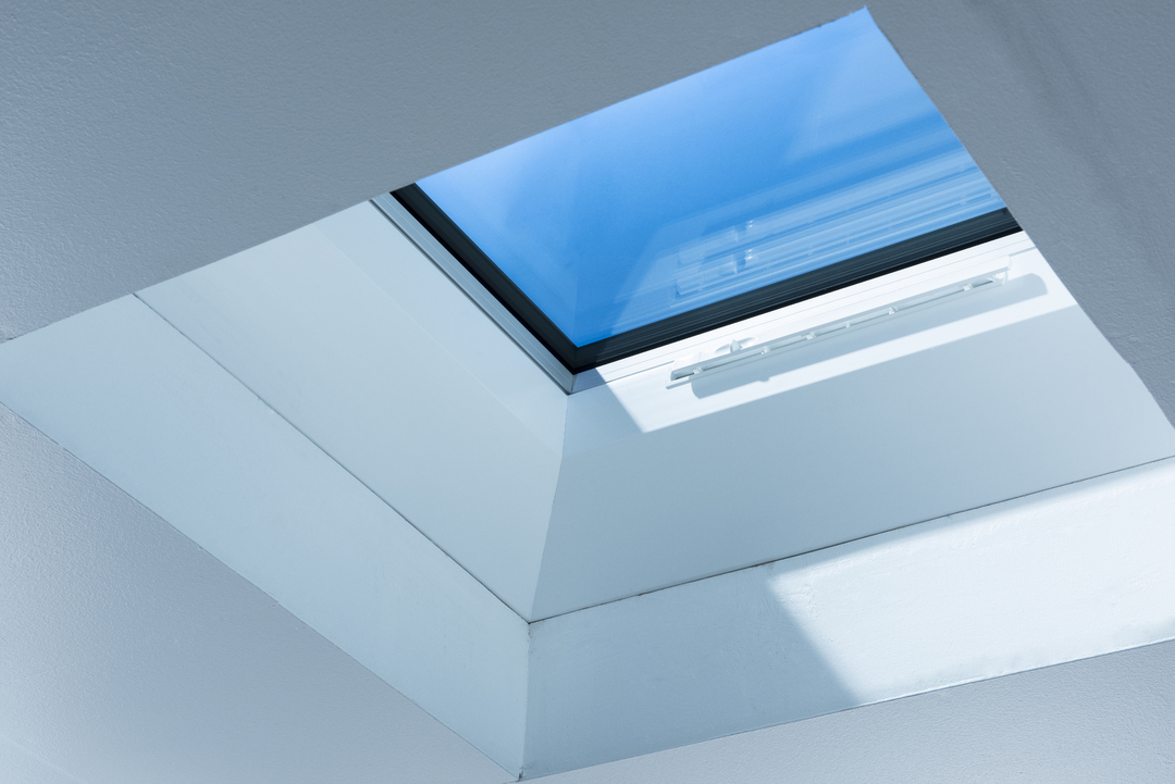 Buy Mardome Glass Flat Roof Light powered opening with a  150mm PVC kerb online today