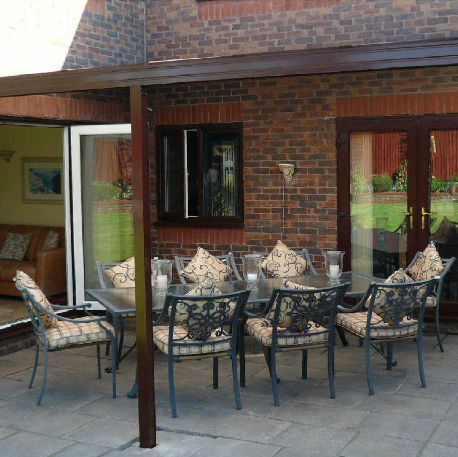 Omega Smart Lean-To Canopy with 16mm Polycarbonate Glazing - 12.0m (W) x 3.0m (P), (5) Supporting Posts