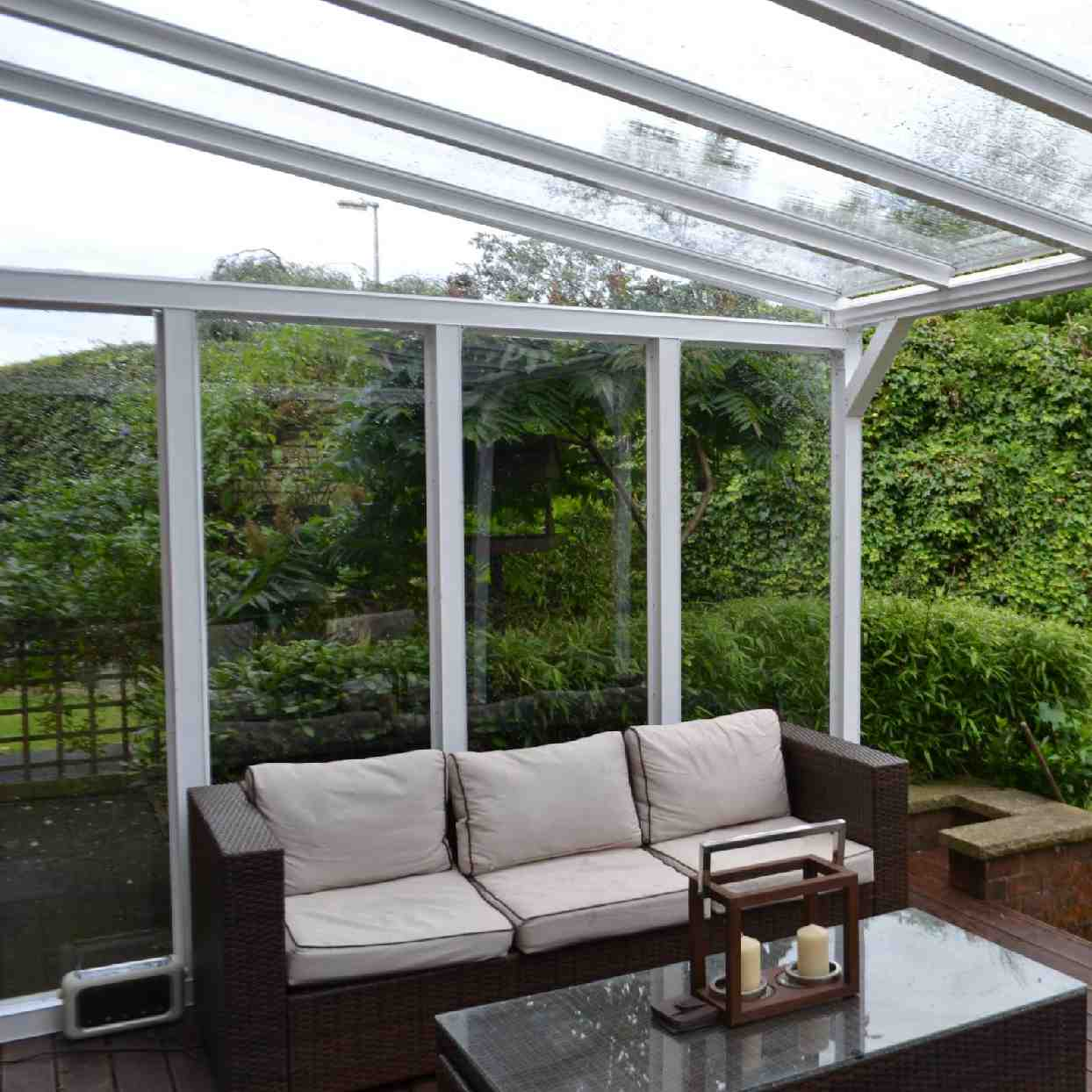Buy Omega Verandah with 6mm Glass Clear Plate Polycarbonate Glazing - 7.7m (W) x 3.5m (P), (4) Supporting Posts online today