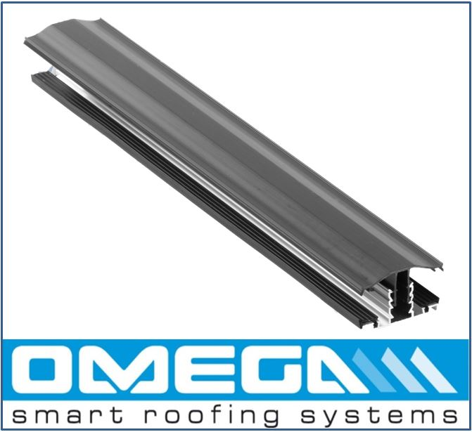 Anthracite grey Snapfix uPVC Rafter Supported Glazing Bar for 10-25mm thick Polycarbonate Glazing